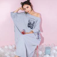 2018新款韩版超大码纯棉睡衣女士加长款七分袖睡裙夏秋冬季孕妇长裙潮款