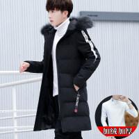 男士冬季外套2018新款韩版修身帅气棉衣男中长款潮流男装棉袄 +加绒T恤