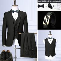 春夏西服套装男士格子修身三件套新郎结婚礼服伴郎西装男职业正装
