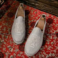 一脚蹬男鞋子中国风布鞋亚麻鞋夏季潮鞋男士帆布鞋休闲懒人