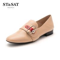 【秒杀价:179元】星期六(ST&SAT)春季羊皮革拼色饰扣休闲深口单鞋SS91111066