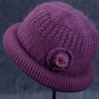 老人帽子围巾女冬天奶奶针织兔毛线帽加厚保暖盆礼帽中老年人妈妈棉帽