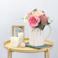 雪山玫瑰仿真花绢花花艺假花玫瑰花家居装饰花餐桌客厅摆件花束