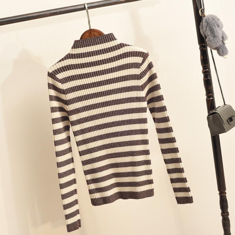 半高领女士毛衣加厚女冬季新款套头内搭亮丝条纹修身针织衫打底衫 发货周期:一般在付款后2-90天左右发货,具体发货时间请以与客服协商的时间为准