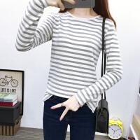 2018春秋季新款韩版修身黑白条纹长袖T恤女装上衣棉大码打底衫 灰色 865#条纹