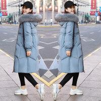 羽绒女中长款2018新款韩版修身雾霾蓝棉衣过膝冬季棉袄外套潮