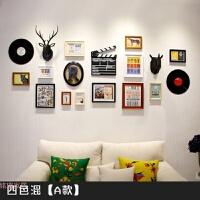 美式乡村照片墙 欧式创意客厅大款挂墙组合实木相框墙面装饰鹿