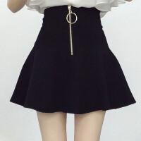 秋季大码半身裙胖mm200斤高腰裤裙a字裙伞裙胖妹妹太阳裙百褶短裙 黑色 毛呢面料