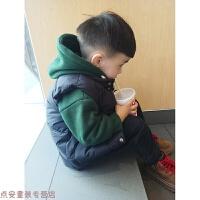 冬季男童套装冬装新款加厚卫衣加绒连帽儿童马甲两件套保暖1小童3韩版秋冬新款