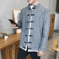 新款复古中国风秋冬装时尚男士大衣男式民族风立领短款毛呢外套