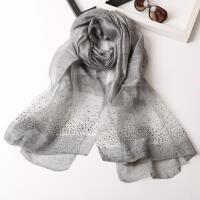 新款韩版镶钻女士扎染纯色真丝丝巾高档羊毛围巾春秋冬季百搭