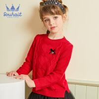 【秒杀价:79元】水孩儿女童针织线衣2019新款女宝宝洋气大红色时尚休闲毛衣