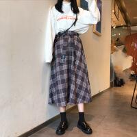 秋季韩版中长款复古宽松格子腰带半身裙高腰A字裙长裙学生裙子女 均码