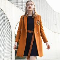 冬装新品 西装领贴布绣毛呢大衣外套女E741629D00