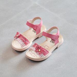 乌龟先森 儿童凉鞋 男女童夏季韩版新款蝴蝶结露趾公主鞋时尚休闲舒适百搭中小童款式鞋子
