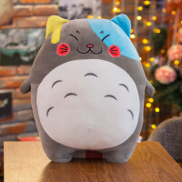彩色龙猫毛绒玩具 宫崎骏卡通龙猫公仔玩偶 眯眼笑 40厘米