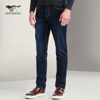 七匹狼牛仔裤 秋季新品 男士时尚商务休闲合体百搭五袋牛仔裤长裤