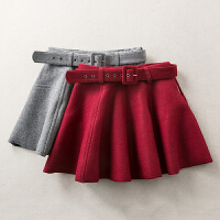 冬季新款高腰显瘦百褶裙简约毛呢半身裙