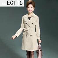 ECTIC 中老年女装秋季时尚妈妈风衣女40-50岁中年女士双排扣中长款外套