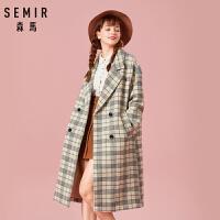 森马毛呢外套女装冬季羊毛大衣保暖舒适格纹呢子大衣