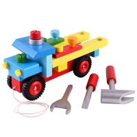 木制儿童拖拉拆装螺母配对工具车智力可拆卸组装男生玩具