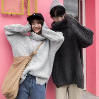 新款2018秋冬风情侣装高领毛衣男休闲韩版学生青少年宽松毛线衫