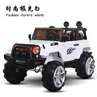 儿童电动车双驱四驱遥控四轮小汽车可坐人越野车摇摆儿童玩具汽车 +皮坐垫