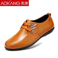 奥康男鞋 新款休闲鞋男真皮日常男士英伦系带皮鞋