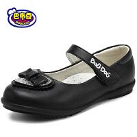 巴布豆女童鞋 女童皮鞋2016春季新款女孩公主鞋蝴蝶结学生女单鞋