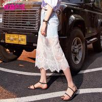 妖精的口袋Y包臀裙子夏装2018新款牛仔裙子chic蕾丝半身中长裙女