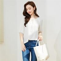 【一口价51元】白色雪纺衬衫夏装2018新款女宽松显瘦蕾丝雪纺衫甜美仙仙女上衣30082326