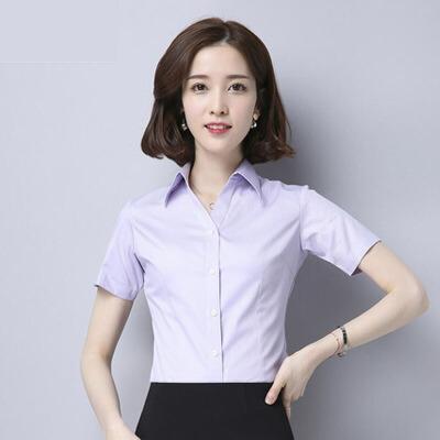 夏季职业衬衫女士短袖V领衬衫正装工作服工装白领白色衬衣女