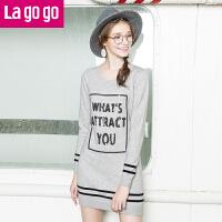 Lagogo显瘦修身毛衣 打底衫女冬 中长款 针织衫