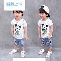 男童米奇短袖T恤牛仔短裤套装2018夏装新款3-5-7岁童装儿童两件套