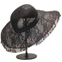 黑色蕾丝字母柯根纱大沿帽子透气女夏季海滩度假防晒遮阳礼帽 黑色 圆顶蕾丝大檐帽 可调节
