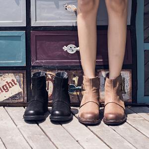 玛菲玛图女靴子中跟复古短靴女春秋季2018新款做旧皮带扣侧拉链百搭马丁靴X2-8