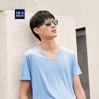 HLA/海澜之家凉感V领短袖汗衫2019春季新品男士弹力打底内衣汗衫