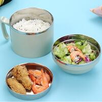 304不锈钢分隔饭盒便当盒学生格快餐杯保温日式成人2双层圆形餐盒