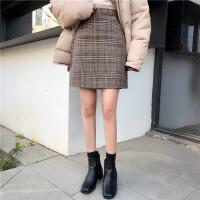 呢子半身裙女修身包臀复古格子高腰A型打底裙外穿短裙子