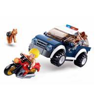 小鲁班兼容积木拼插益智儿童玩具男孩拼装积木警察巡逻车