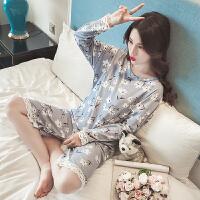 春秋睡衣女秋季韩版学生清新甜美可爱宽松纯棉长袖睡裙家居服套装