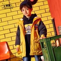 【2件3折到手价:224.7元】小虎宝儿男童加厚棉服潮洋气2019新款冬季中长款儿童加绒棉衣外套