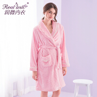 润微 加厚珊瑚绒升级版舒适法兰绒长袖睡袍女士家居服