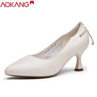 奥康女鞋法式小高跟女鞋细酒杯跟职业正装单鞋女工作皮鞋