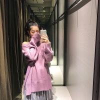 女装秋冬2018新款 韩版慵懒风宽松网红毛衣女套头超火糖果色外套 均码
