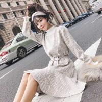 格子毛呢连衣裙秋冬款小清新裙子半高领高腰收腰长袖荷叶边鱼尾裙 均码