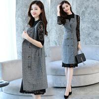 小香风套装裙女两件套中长款秋装新款女装韩版气质连衣裙子潮