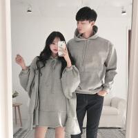 2018冬装新款情侣装韩版ulzzang卫衣女装长袖中长款宽松加绒连帽