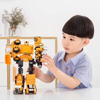 机器人模型男孩 合金正版变形玩具金刚5工程汽车大黄蜂组合体