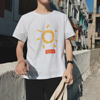 20180623123436170港风夏季新款原宿风短袖T恤男韩版潮流情侣上衣百搭学生宽松5分袖